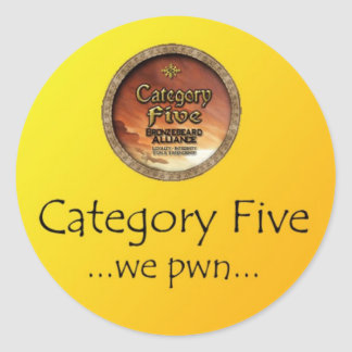 category 5 - we pwn classic round sticker