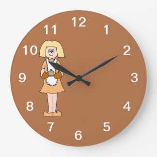 Caterer with Hot Soup. Large Clock
