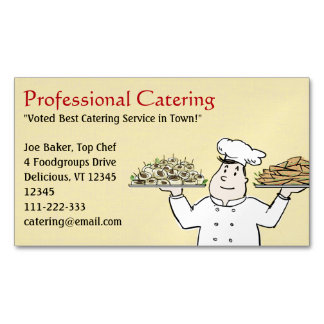 Catering Chef Holding Hors D'oeuvres Business Card Magnet