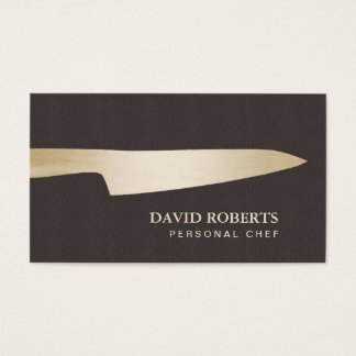 Catering Gold Chef Knife Dark Brown Leather Business Card