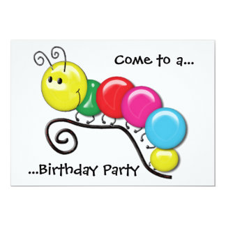 Caterpillar on a Twig Birthday Party Card