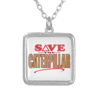 Caterpillar Save Silver Plated Necklace