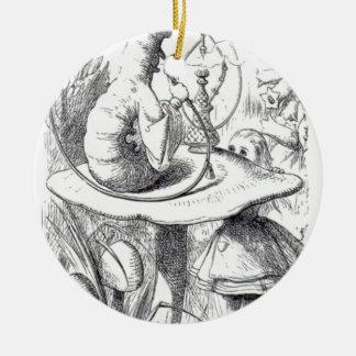 Caterpiller Smokes a Hookah on am ushrooa Ceramic Ornament