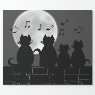 Caterwauling by moonlight wrapping paper