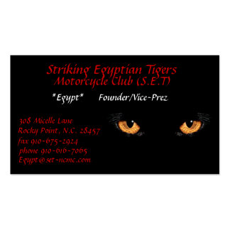 cateyes, Striking Egyptian Tigers, Motorcycle C... Business Card