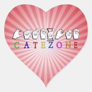 CATEZONE FINGERSPELLED ASL NAMESIGN HEART STICKER