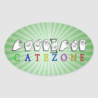 CATEZONE FINGERSPELLED ASL NAMESIGN OVAL STICKER