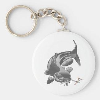 Catfish Basic Round Button Keychain
