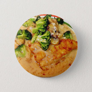 Catfish Broccoli Piccata Food Cooking Dinner 2 Inch Round Button