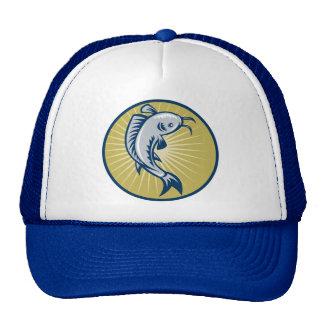 Catfish jumping retro woodcut style trucker hats