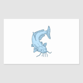 Catfish Mud Cat Diving Down Mono Line Sticker