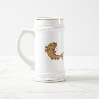 Catfish Mud Cat Going Up Drawing Beer Stein