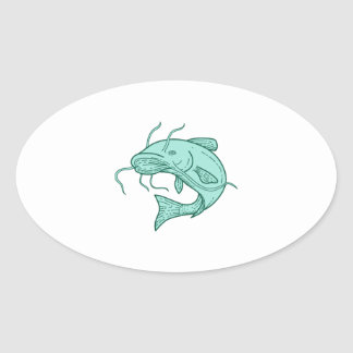 Catfish Mud Cat Jumping Mono Line Oval Sticker