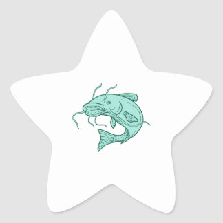 Catfish Mud Cat Jumping Mono Line Star Sticker