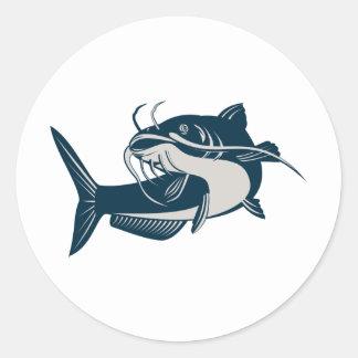 catfish swimming up classic round sticker