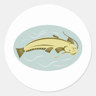 catfish woocut style classic round sticker