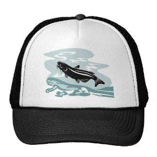 catfish woodcut trucker hat