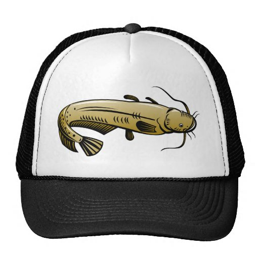 catfish woodcut style trucker hat