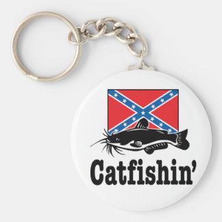 Catfishin' Basic Round Button Keychain