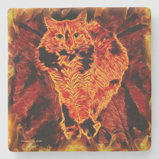 Catflagration Square Stone Coaster