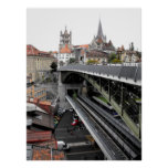 Cathedral and Bessieres bridge in Lausanne Poster
