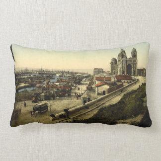 Cathedral and Quay de la Joliette, Marseilles Lumbar Pillow