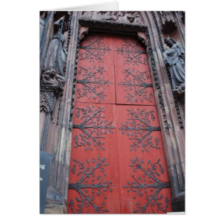 Cathedral Door Strasbourg, France Card