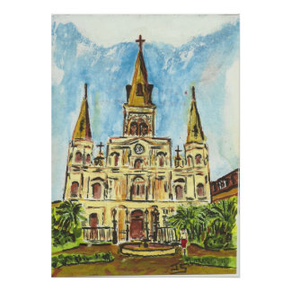 Cathedral, Jackson Square, New Orleans Poster