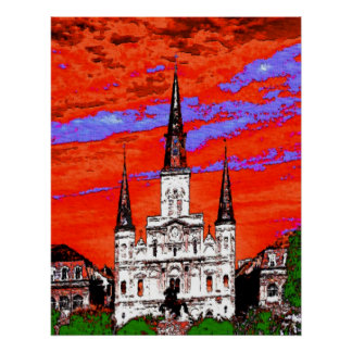 Cathedral, New Orleans, Fauvist Colors Poster
