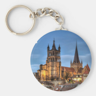 Cathedral Notre Dame of Lausanne, Switzerland, HDR Keychain