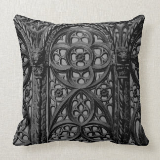 Cathedral Pew Geometric Wood Carving Pattern 02 Throw Pillow