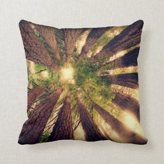 Cathedral redwood tree forest photography decor throw pillow