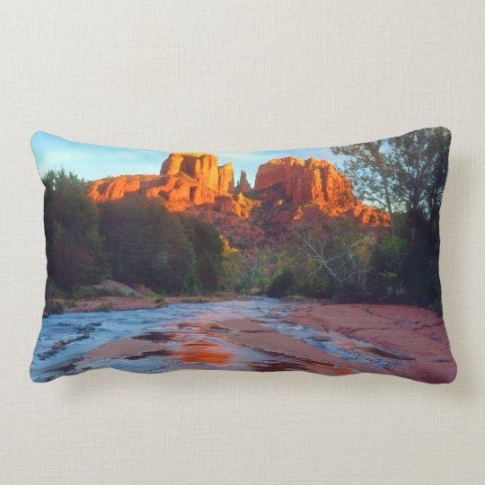 Cathedral Rock reflecting in Oak Creek at Sunset Lumbar Pillow