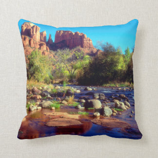 Cathedral Rock reflecting in Oak Creek Throw Pillow