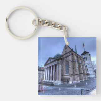 Cathedral Saint-Pierre, Peter, Geneva,Switzerland Double-Sided Square Acrylic Keychain