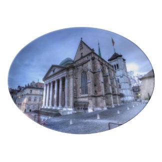 Cathedral Saint-Pierre, Peter, Geneva,Switzerland Porcelain Serving Platter