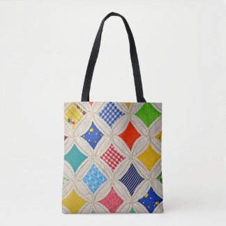 cathedral window handmade quilt pattern tote bag