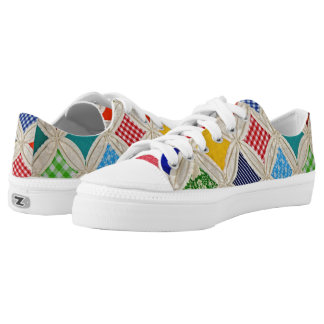 Cathedral Window Quilt design Low-Top Sneakers