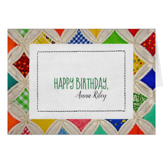 Cathedral Window quilt pattern for birthday Card