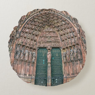 Cathedrale Notre-Dame, Strasbourg, France Round Pillow