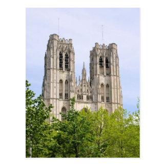 Cathédrale St Michel & Gudule - Brussels, Belgium Postcard