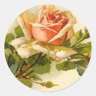 Catherine Klein's Vintage Peach Rose Classic Round Sticker