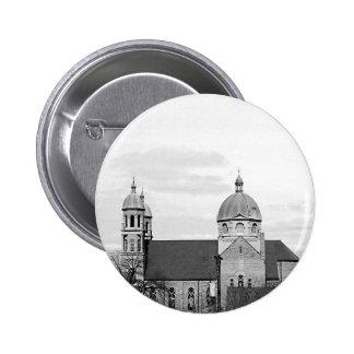 Catholic Church Black and White Photo Pinback Button