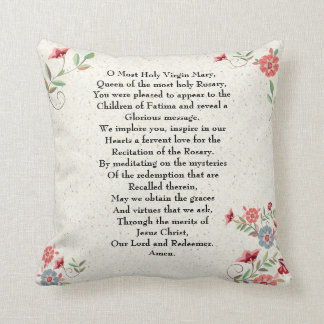 Catholic Lady of Fatima Prayer Gift Personalized Throw Pillow