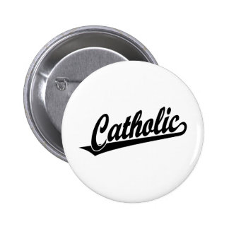 Catholic script logo  in black 2 inch round button