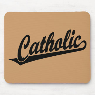 Catholic script logo in black mouse pad