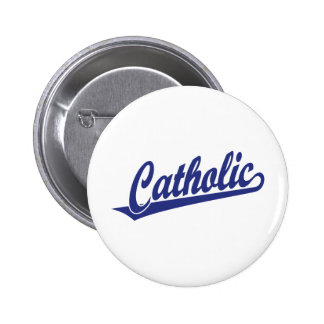 Catholic script logo  in blue 2 inch round button