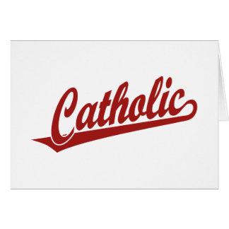 Catholic script logo  in red card