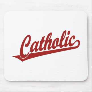 Catholic script logo  in red mouse pad
