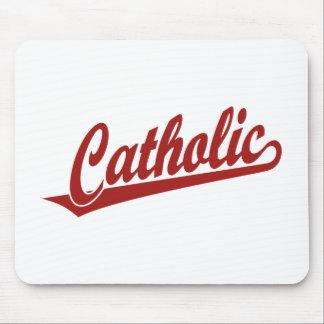 Catholic script logo in red mousepad